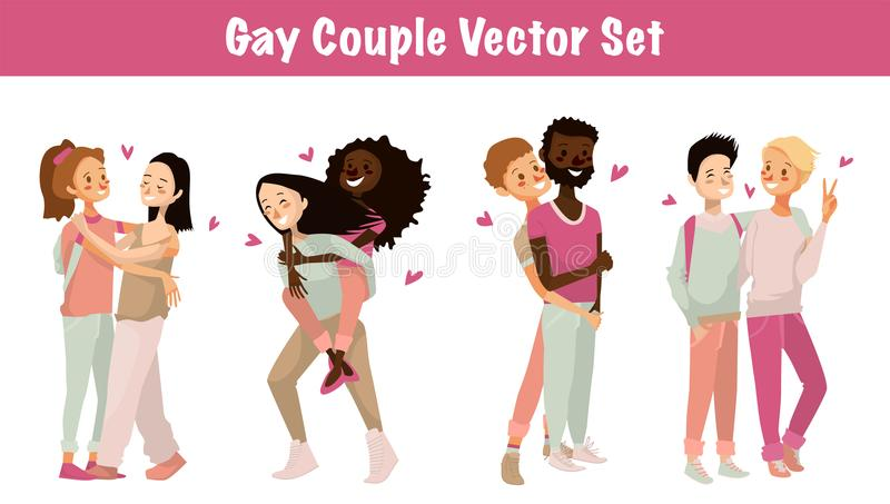 Gay couple vector set illustration. isolated cute homosexual couples on a white background. cartoon character design of young gay. Gay couple vector set royalty free illustration