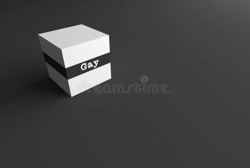 gay de la PALABRA de la REPRESENTACIÓN 3D ESCRITO EN EL CUBO BLANCO libre illustration