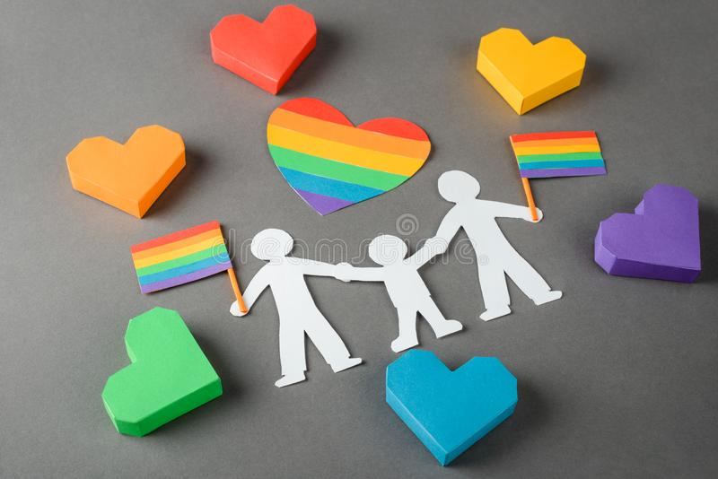 Gay family paper chain royalty free stock photos