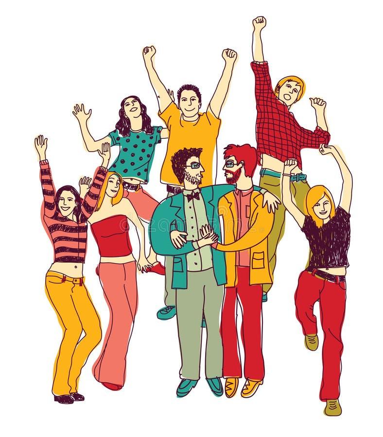 Gay feliz de los pares de la gente del arco iris del lgbt junto ilustración del vector