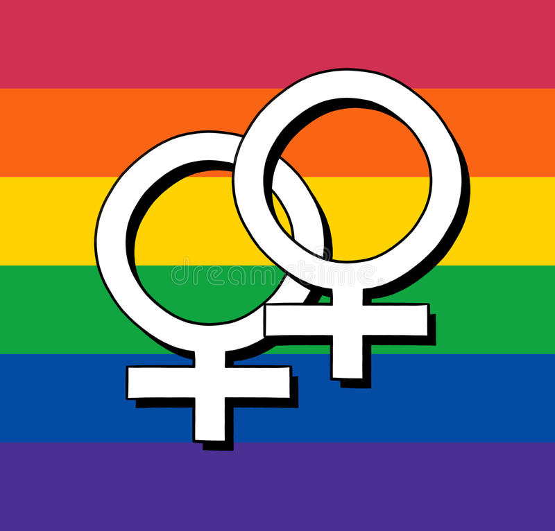 Gay Flag With Female Symbol Stock Illustration