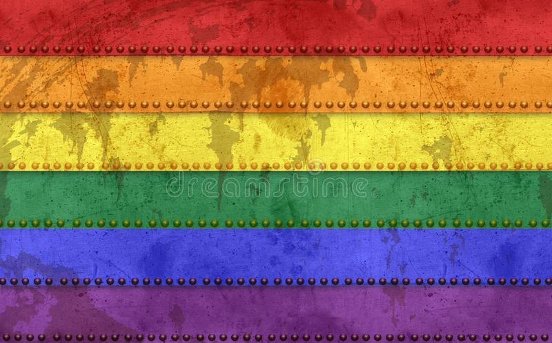 Gay Flag Grunge. Style Metal with Rivets Rusted Tin Retro Vintage 70`s Love Pride Celebration Parade royalty free illustration
