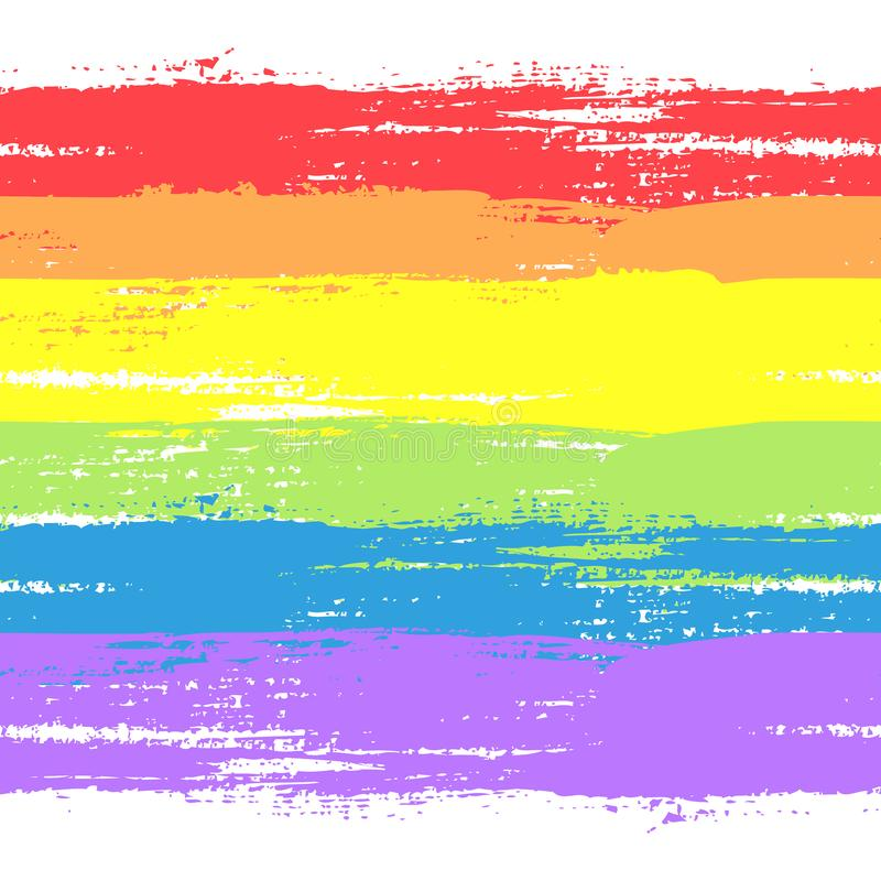 Gay flag and symbol. Vector abstract illustration of brushed rainbow watercolor background. Painted gay flag and symbol. Concept of gay love, lgbt movement, free vector illustration