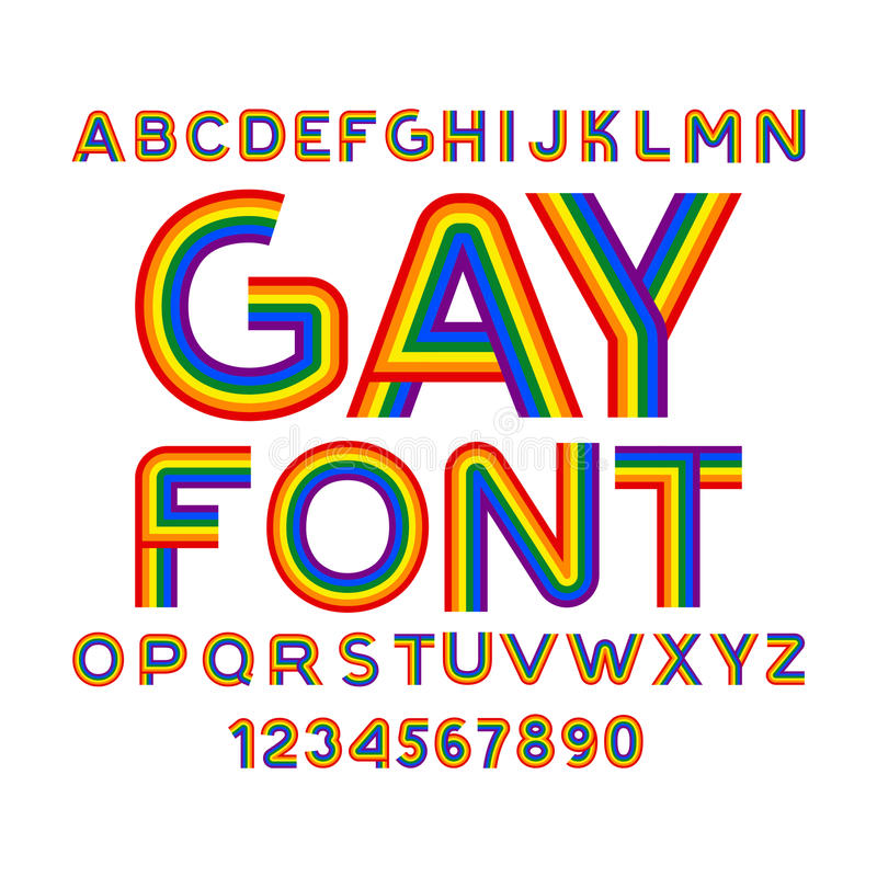 Gay font. Rainbow letters. LGBT ABC for Symbol of gays and lesbians. Alphabet of bisexual and transgender people royalty free stock photos