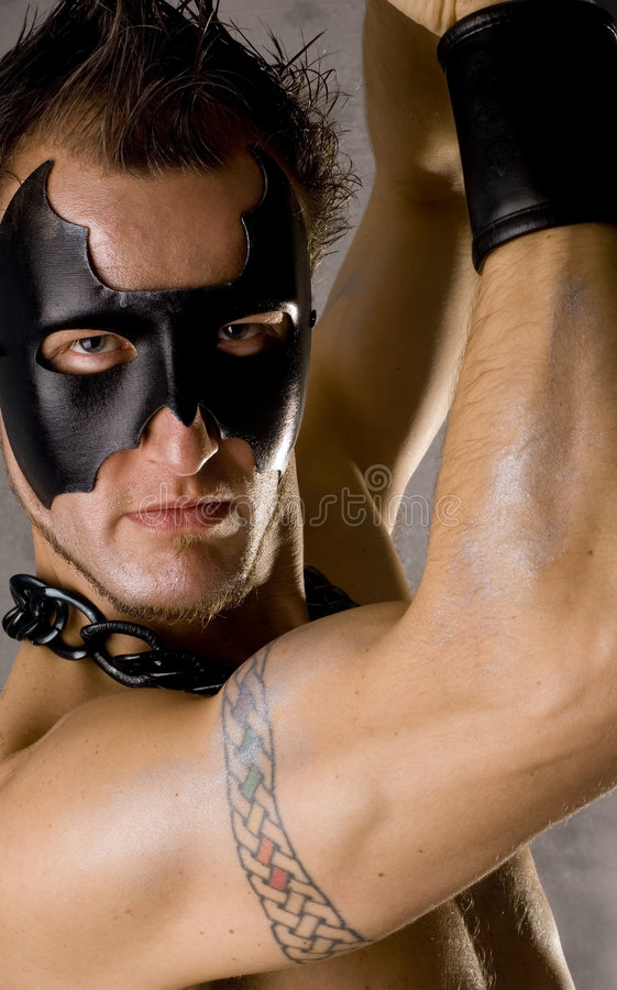 Gay Guy in Black Mask royalty free stock photography