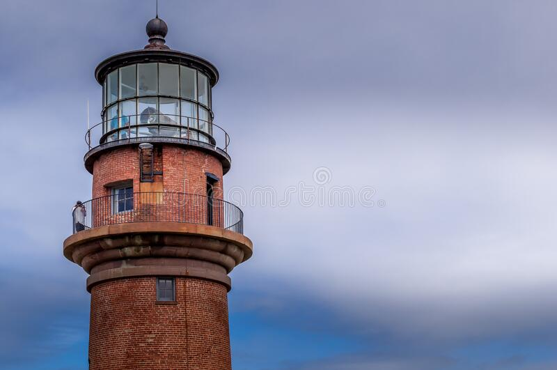 Gay Head Light with the blue cloudy sky,  Martha`s Vineyard royalty free stock images