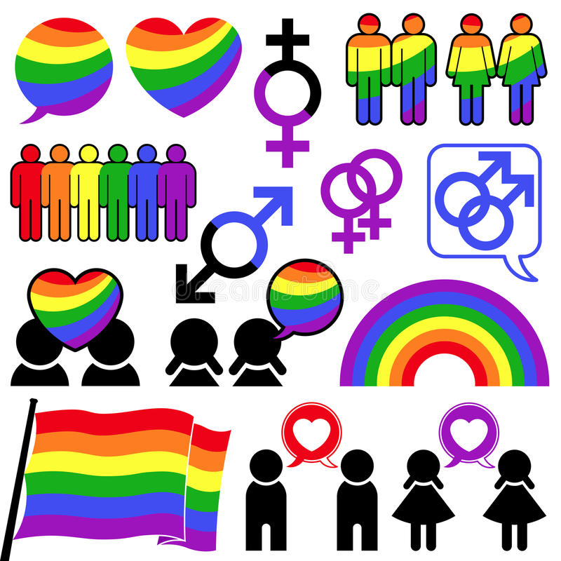 Gay icon rainbow collection royalty free illustration