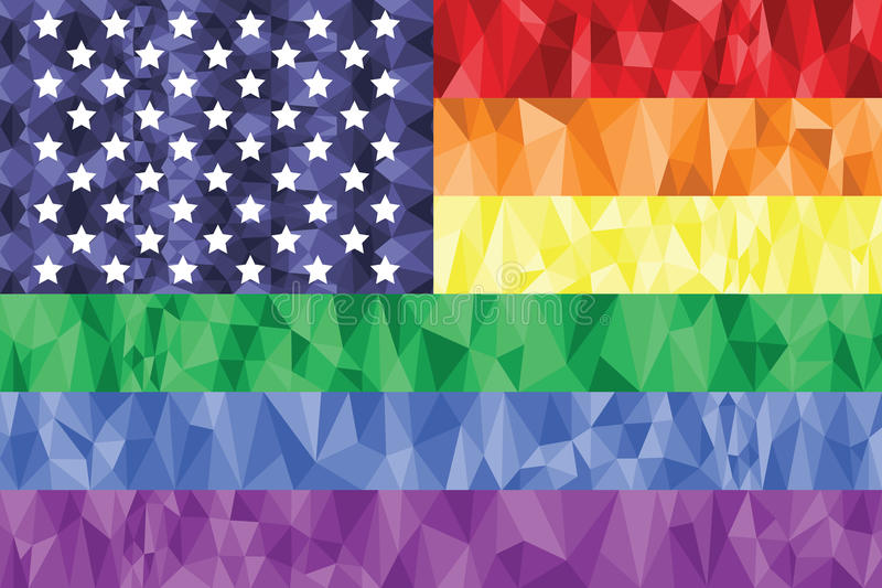 Gay and Lesbian rainbow flag in poly art icon with united states element stock illustration