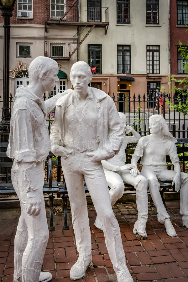 Gay Liberation by American artist George Segal, located in Chris. Manhattan, New York, USA - 12th September 2015: Gay Liberation Memorial by George Segal in Soho royalty free stock image