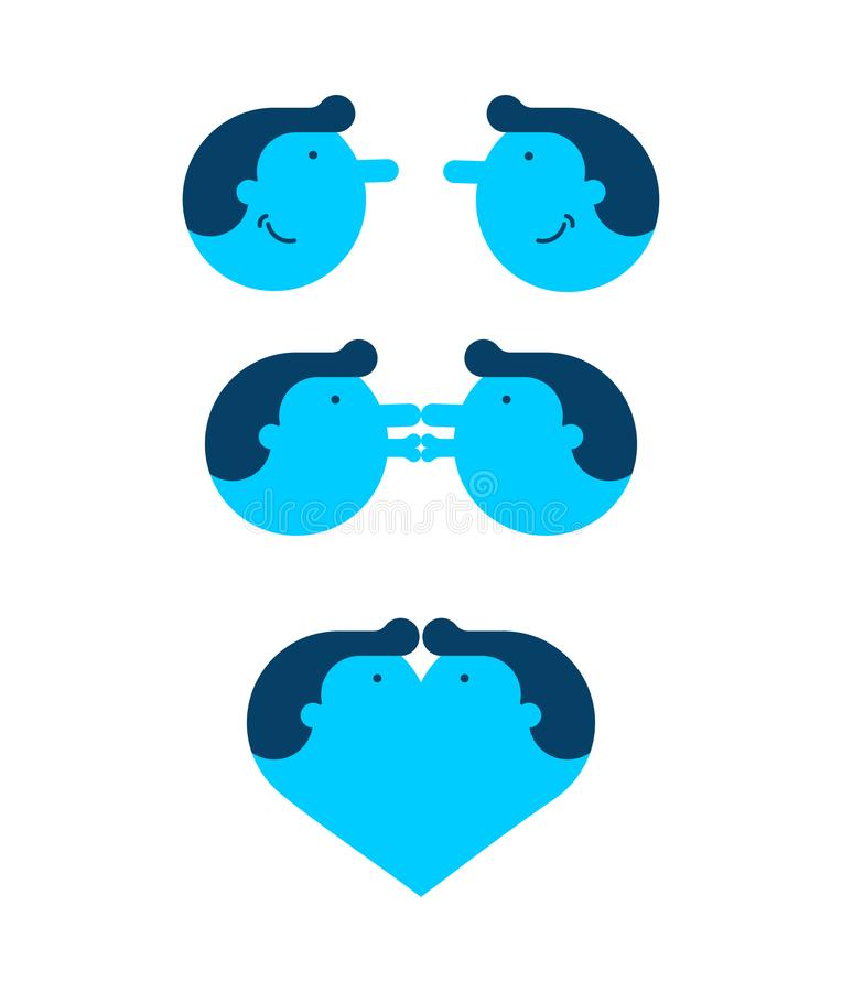 Gay love. Two Guys are kissing. LGBT lovers. Vector illustration.  stock illustration