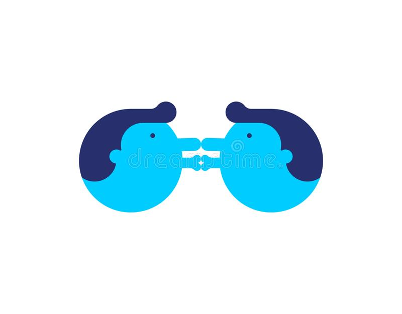 Gay love. Two Guys are kissing. LGBT lovers. Vector illustration.  royalty free illustration