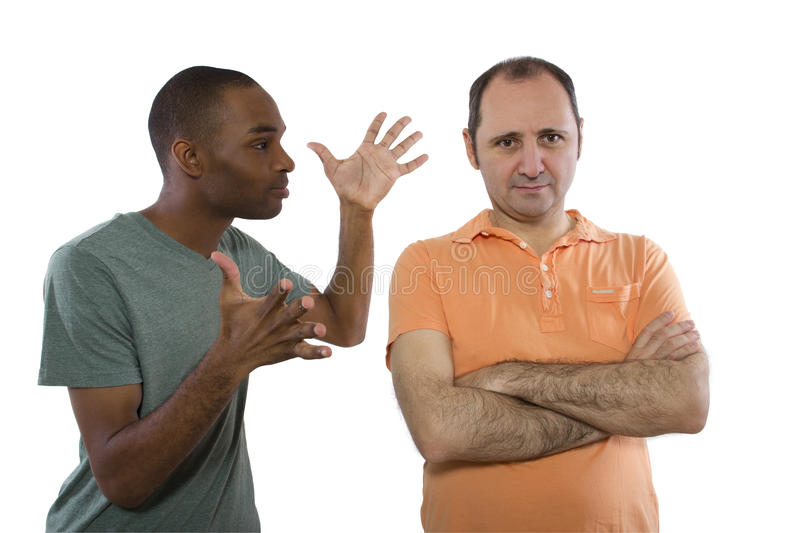 Gay Lovers Quarrell. Same sex relationship problems. Black male and white man royalty free stock images