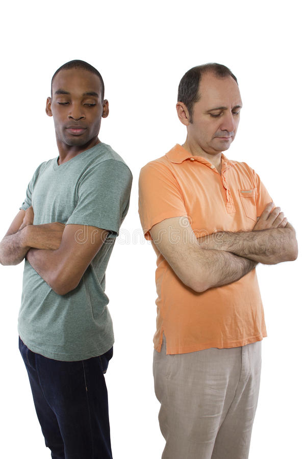 Gay Lovers Quarrell. Same sex relationship problems. Black male and white man royalty free stock photos