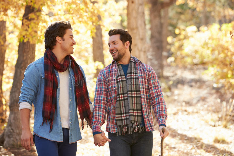 Gay Male Couple Walking Through Fall Woodland Together royalty free stock images