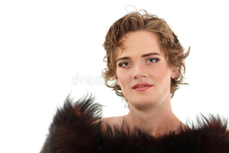 Gay man attractive she-male makeup stock photos