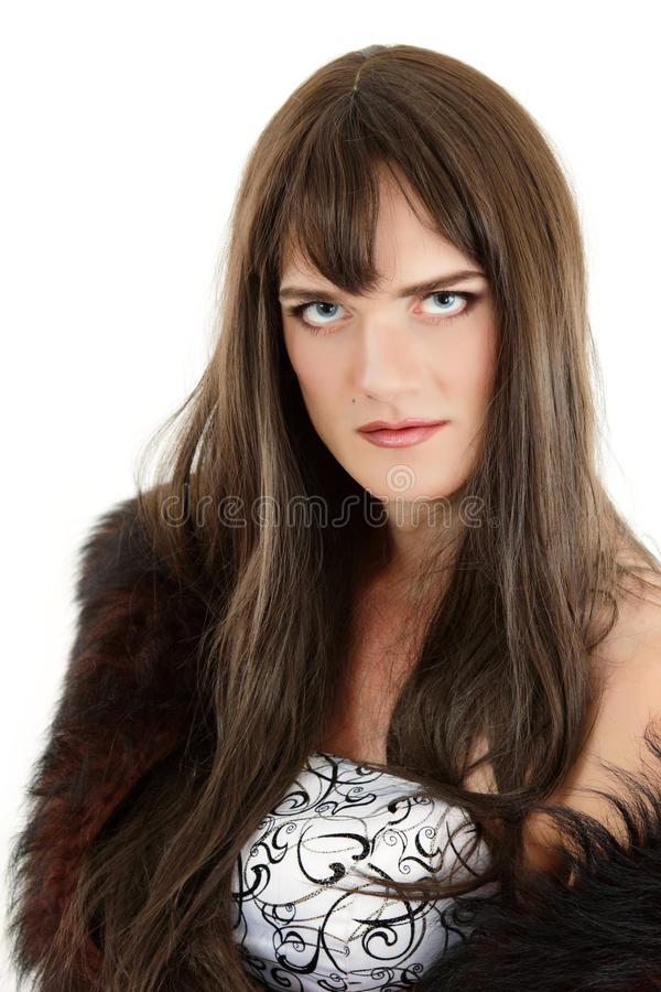 Gay man attractive she-male makeup royalty free stock images