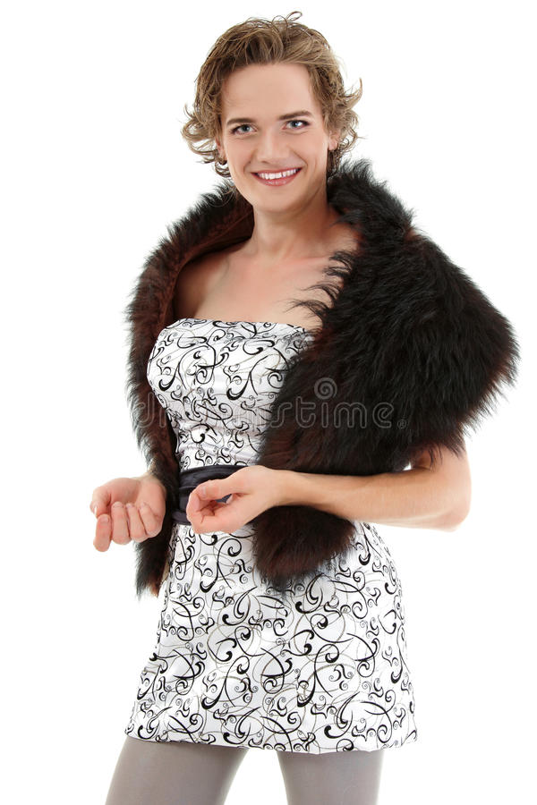 Gay man attractive she-male makeup in dress stock image