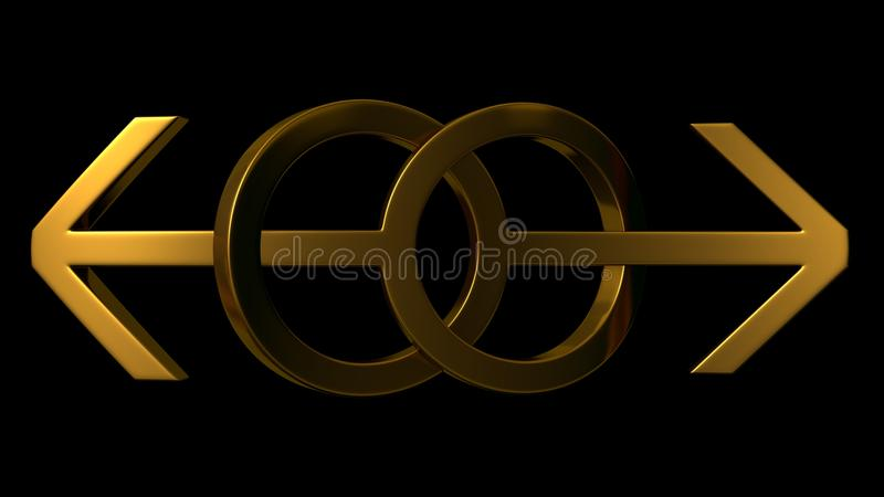Gay marriage. Theme.tangled male symbols, golden version stock illustration