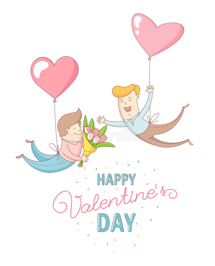 Gay men characters flying by heart balloons. Happy Valentine`s Day. Funny cute gay men characters flying by heart balloons to congratulate each other with Happy stock illustration