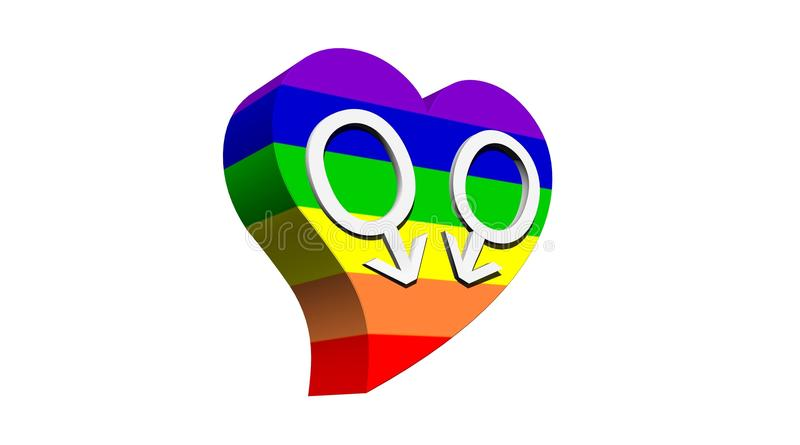 Gay men love. Two male symbols representing a gay couple in rainbow color heart with white background vector illustration