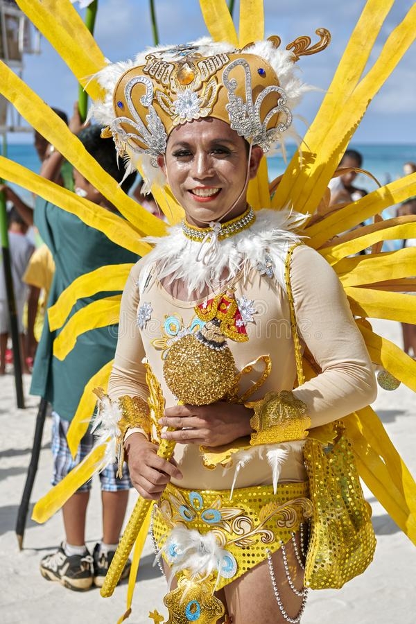 Gay participant at the Ati-atihan Festival on Boracay Island. The traditional catholic Ati-Atihan Festival parade is held in honor of the Santo Niño Infant stock images