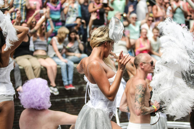 Gay Pride Canal Parade Amsterdam 2014. Amsterdam Pride is a citywide gay-festival held annually at the center of Amsterdam during the first weekend of August stock image