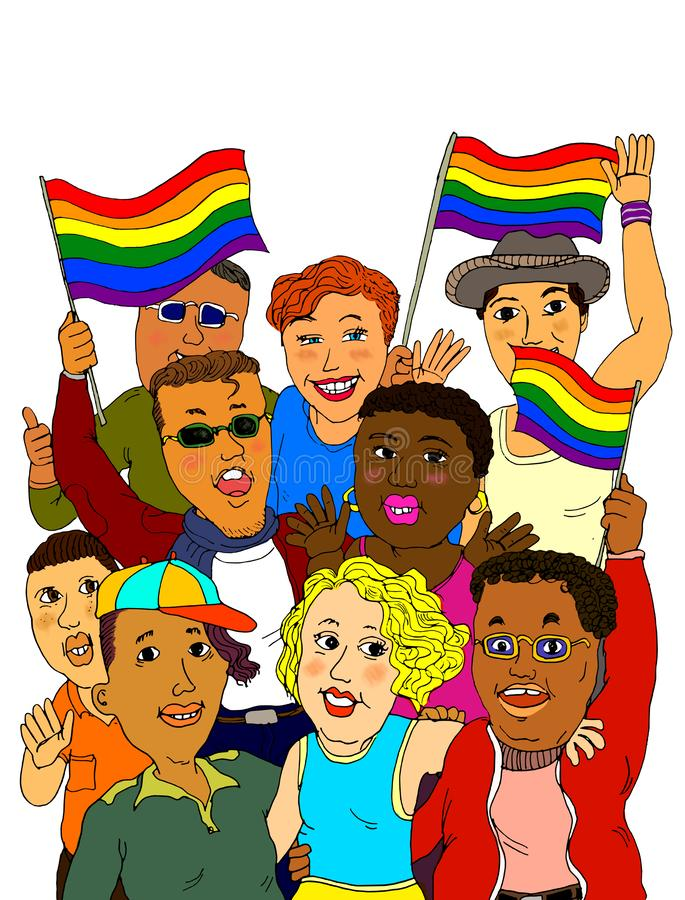 Gay Pride Celebration. A group of young adults LGBTQ people celebrating Gay Pride with gay rainbow flags as a symbol of equality, diversity, freedom to love royalty free illustration