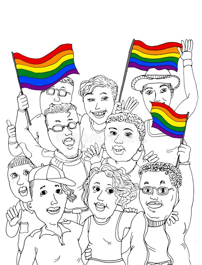 Gay Pride Celebration. A group of young adults LGBTQ people celebrating Gay Pride with gay rainbow flags as a symbol of equality, diversity, freedom to love vector illustration