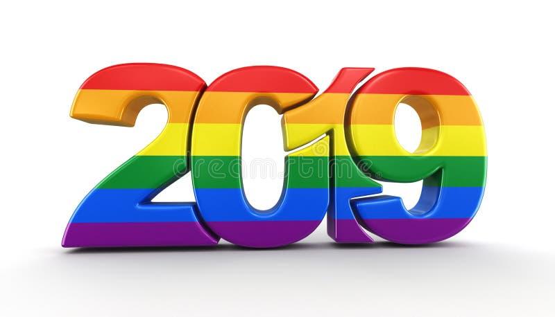 Gay Pride Color New Year 2019 stock de ilustración