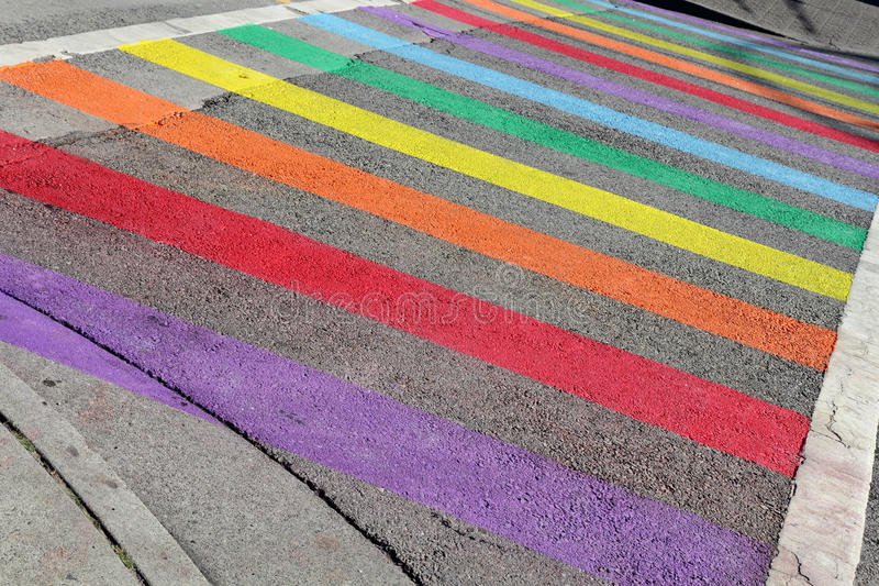 Gay Pride Crosswalk, Vancouver stock photo