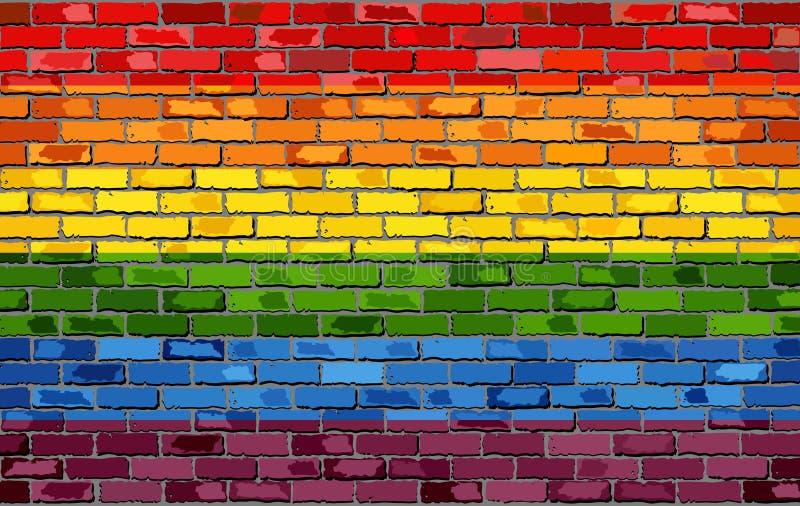 Gay pride flag on a brick wall. Illustration, Rainbow flag on brick textured background, Flag of gay pride movement painted on brick wall, Gay and transgender