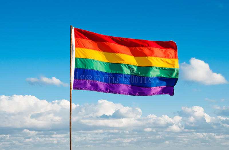 Gay Pride Flag, Miami Beach, Florida dell'arcobaleno fotografia stock libera da diritti