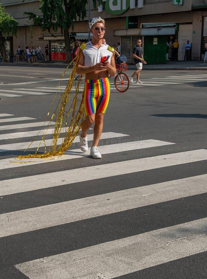 Gay Pride gai à Milan photo libre de droits