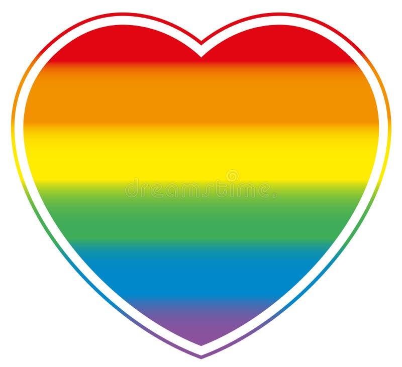 Gay Pride Heart Rainbow Colored Love stock illustration