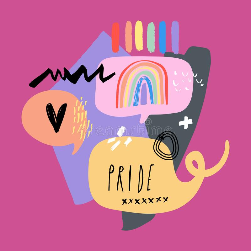 Gay Pride LGBT regnbågebegrepp bubbles mer mitt portf?ljsetsanf?rande Klottra den färgrika illustrationen för stil vektor illustrationer