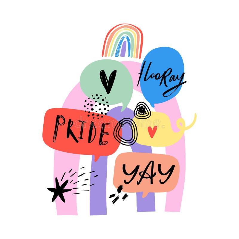 Gay Pride LGBT regnbågebegrepp bubbles mer mitt portf?ljsetsanf?rande Klottra den färgrika illustrationen för stil stock illustrationer