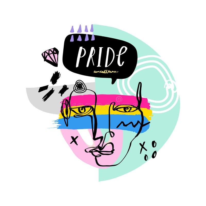 Gay Pride LGBT regnbågebegrepp vektor f?r anf?rande f?r bubbladiagramperson talande Klottra den färgrika illustrationen för stil stock illustrationer