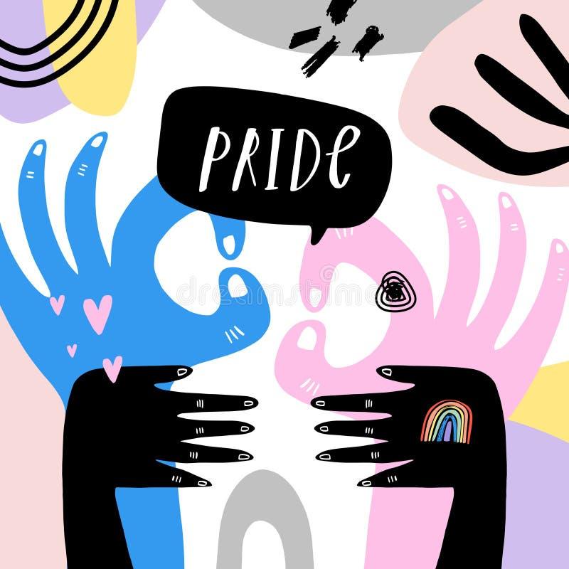 Gay Pride LGBT regnbågebegrepp vektor f?r anf?rande f?r bubbladiagramperson talande Klottra den färgrika illustrationen för stil royaltyfri illustrationer