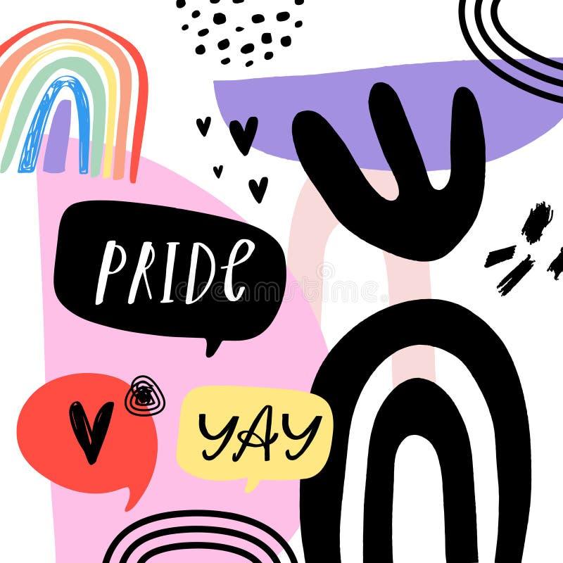 Gay Pride LGBT regnbågebegrepp vektor f?r anf?rande f?r bubbladiagramperson talande Klottra den färgrika illustrationen för stil vektor illustrationer