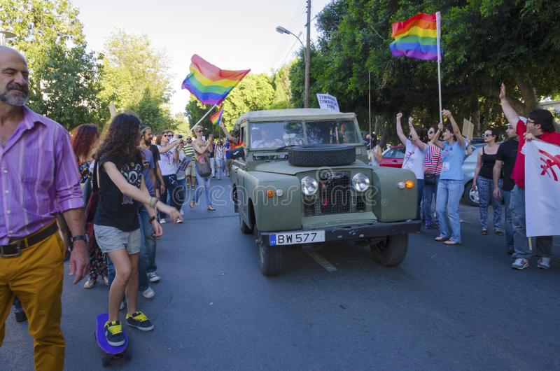 Gay Pride Parade, Cyprus. NICOSIA, CYPRUS - 31 MAY 2014: The first Gay Pride Parade in Cyprus to celebrate LGBT, lesbian, gay, bisexual and transgender rights royalty free stock photo
