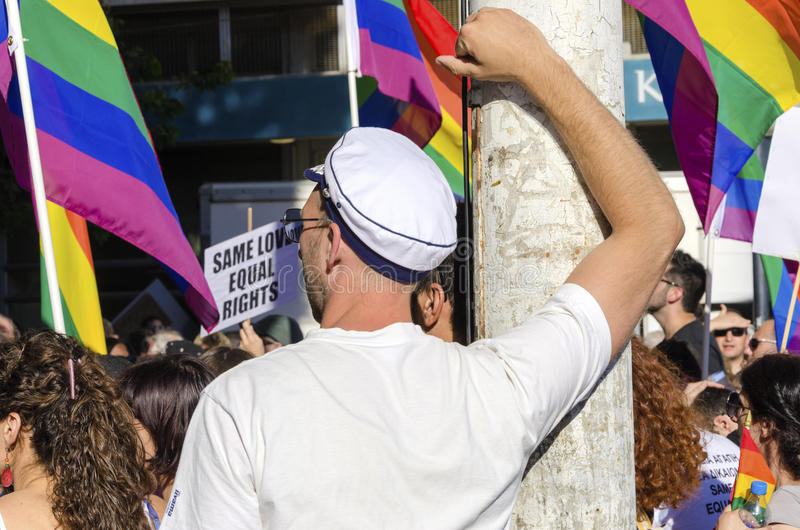 Gay Pride Parade, Cyprus. NICOSIA, CYPRUS - 31 MAY 2014: The first Gay Pride Parade in Cyprus to celebrate LGBT, lesbian, gay, bisexual and transgender rights stock images