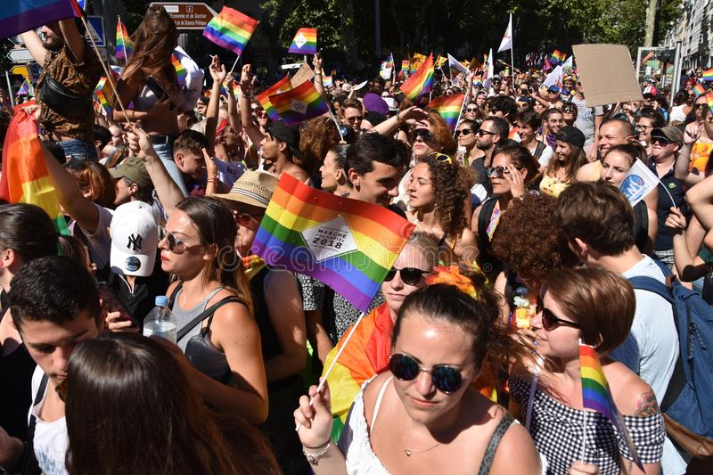 Gay Pride Parade in Marseille. Marseille, France - July 07, 2018 : Revelers take part in the Pride Parade 2018 in Marseille, southern France stock photos