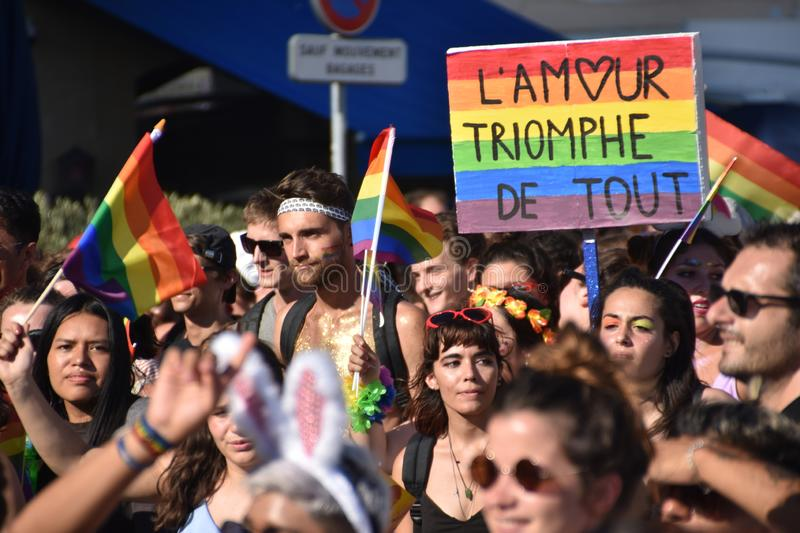 Gay Pride Parade in Marseille. Marseille, France - July 07, 2018 : Revelers take part in the Pride Parade 2018 in Marseille, southern France stock images