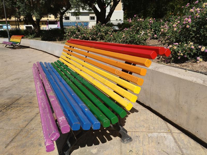Park bench in Valencia city stock images