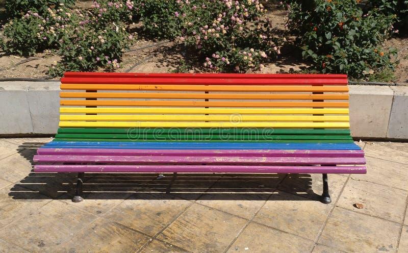 Park bench in Valencia city stock photography