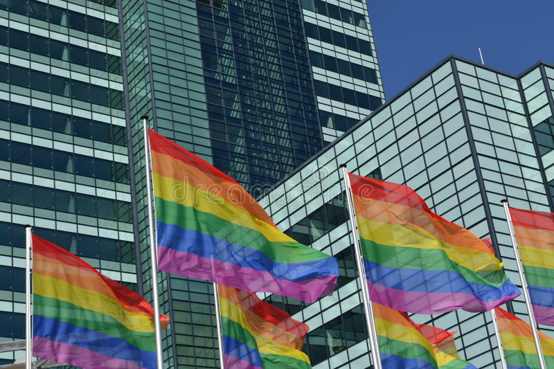 Download Gay pride rainbow flags stock photo. Image of perspective - 32714672