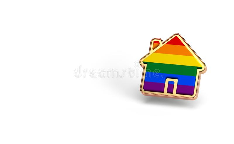 Gay pride rainbow in a home shape isolated on white background. Copy space on the left side. LGBTQ people rights to live together. Concept. 3D render royalty free illustration