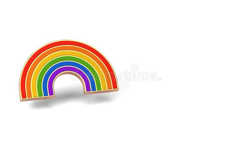 Gay pride rainbow isolated on white background. Copy space on the left side. LGBTQ and homosexual minority pride symbol concept. 3D render royalty free illustration