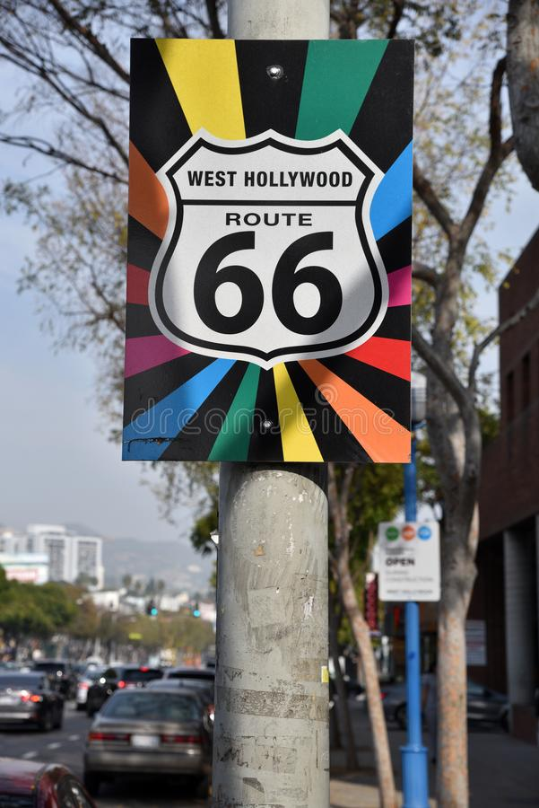 Gay Pride Route 66 Sign in West Hollywood royalty free stock image