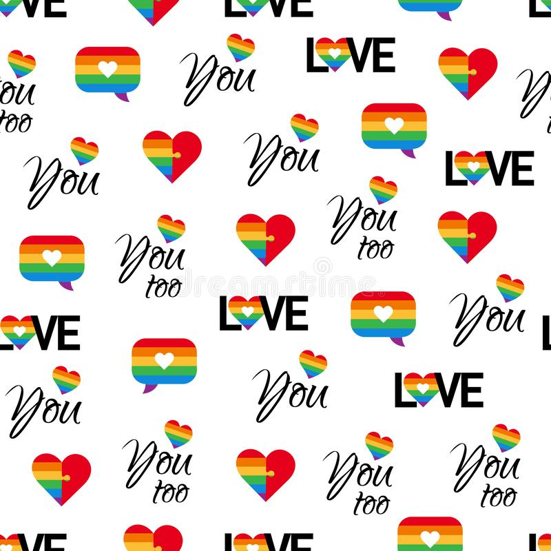 Gay pride seamless pattern LGBT vector background stock image